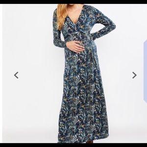Long sleeve maxi maternity dress